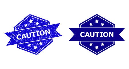 Hexagonal CAUTION watermark on a white background, with source version. Flat vector blue grunge seal with CAUTION caption inside hexagon form, ribbon is used also. Watermark with grunge surface.