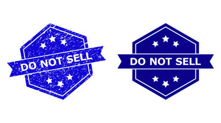 Hexagon DO NOT SELL stamp seal on a white background, with undamaged variant. Flat vector blue grunge seal stamp with DO NOT SELL caption inside hexagoanl shape, ribbon is used.