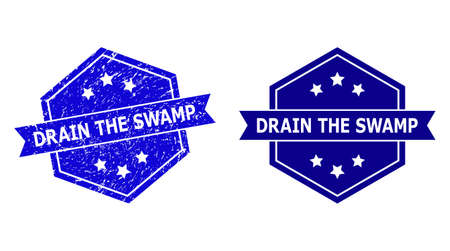 Hexagon DRAIN THE SWAMP seal stamp on a white background, with source version. Flat vector blue grunge stamp with DRAIN THE SWAMP text inside hexagon shape, ribbon used.