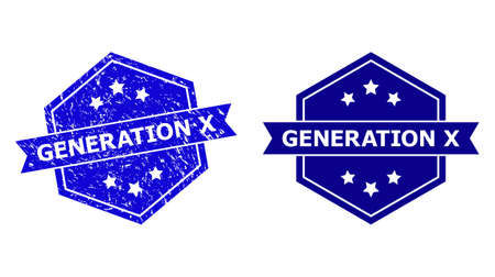 Hexagon GENERATION X seal stamp on a white background, with original variant. Flat vector blue textured stamp with GENERATION X title inside hexagon shape, ribbon used also.