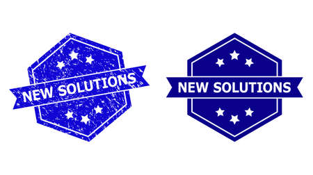 Hexagon NEW SOLUTIONS stamp on a white background, with clean variant. Flat vector blue textured watermark with NEW SOLUTIONS caption inside hexagon shape, ribbon used also.