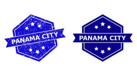Hexagon PANAMA CITY stamp on a white background, with original variant. Flat vector blue scratched stamp with PANAMA CITY caption inside hexagon shape, ribbon is used also.