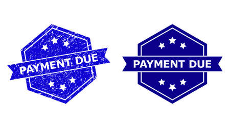 Hexagonal PAYMENT DUE seal stamp on a white background, with undamaged version. Flat vector blue grunge seal stamp with PAYMENT DUE phrase inside hexagoanl form, ribbon is used also.