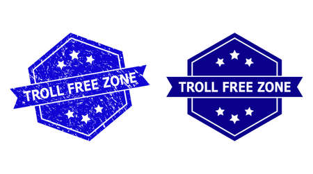 Hexagonal TROLL FREE ZONE seal stamp on a white background, with clean version. Flat vector blue textured seal stamp with TROLL FREE ZONE phrase inside hexagon form, ribbon used also.