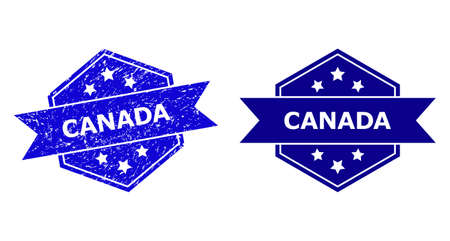 Hexagon CANADA seal stamp on a white background, with source version. Flat vector blue scratched stamp with CANADA title inside hexagoanl shape, ribbon used. Imprint with scratched texture.