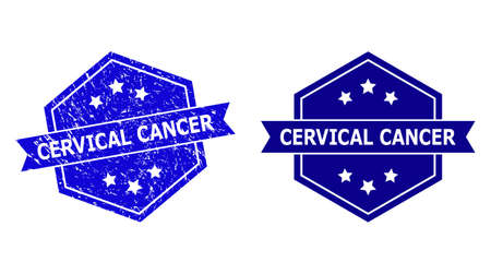 Hexagonal CERVICAL CANCER stamp seal on a white background, with original variant. Flat vector blue distress seal stamp with CERVICAL CANCER caption inside hexagoanl form, ribbon is used.