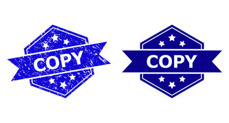 Hexagon COPY seal on a white background, with original version. Flat vector blue grunge seal stamp with COPY title inside hexagon shape, ribbon is used also. Rubber imitation with scratched surface.