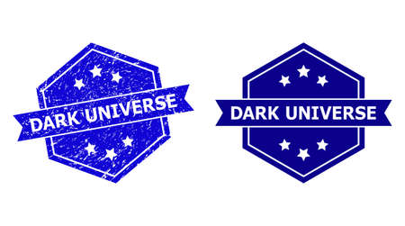 Hexagon DARK UNIVERSE stamp seal on a white background, with original variant. Flat vector blue scratched seal stamp with DARK UNIVERSE title inside hexagoanl shape, ribbon used also.