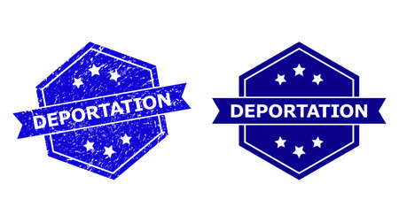 Hexagonal DEPORTATION stamp seal on a white background, with undamaged version. Flat vector blue distress seal stamp with DEPORTATION message inside hexagoanl shape, ribbon used. Illustration