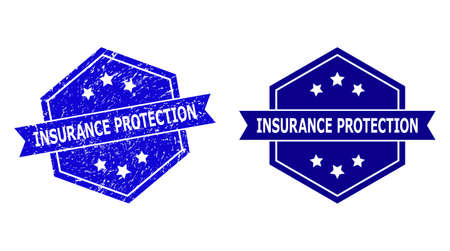Hexagon INSURANCE PROTECTION stamp on a white background, with original variant. Flat vector blue grunge seal stamp with INSURANCE PROTECTION phrase inside hexagon shape, ribbon is used also.