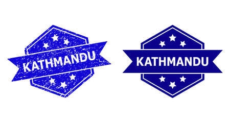 Hexagon KATHMANDU watermark on a white background, with original variant. Flat vector blue textured watermark with KATHMANDU caption inside hexagon form, ribbon used also. Imprint with grunged style.