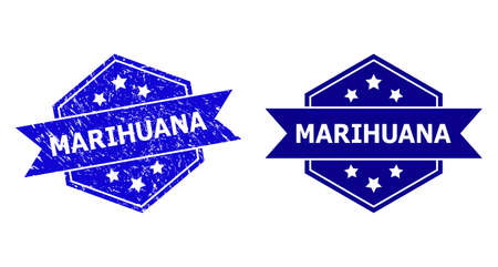 Hexagon MARIHUANA seal stamp on a white background, with source variant. Flat vector blue grunge seal stamp with MARIHUANA message inside hexagon shape, ribbon is used. Watermark with unclean texture.