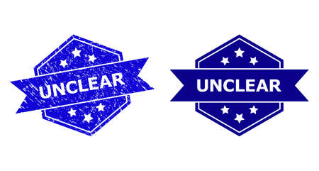 Hexagon UNCLEAR seal on a white background, with original version. Flat vector blue distress seal with UNCLEAR message inside hexagon shape, ribbon used. Rubber imitation with grunged surface.