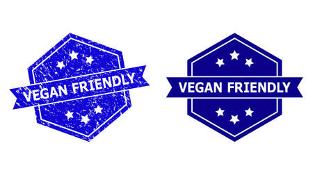 Hexagon VEGAN FRIENDLY seal stamp on a white background, with clean variant. Flat vector blue scratched seal stamp with VEGAN FRIENDLY message inside hexagoanl shape, ribbon is used.