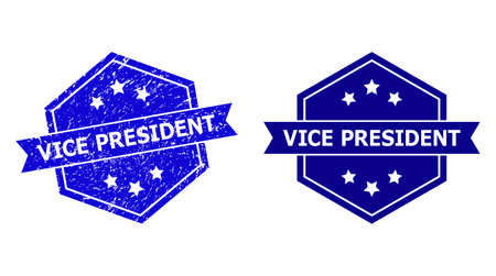Hexagon VICE PRESIDENT stamp on a white background, with clean version. Flat vector blue scratched seal stamp with VICE PRESIDENT caption inside hexagon form, ribbon used also. 矢量图像