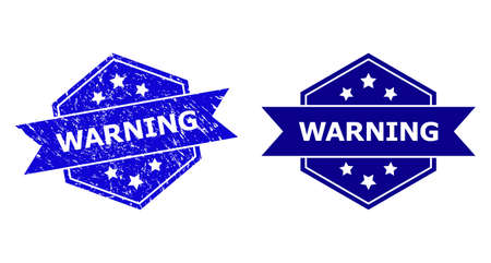 Hexagon WARNING stamp seal on a white background, with undamaged version. Flat vector blue grunge seal with WARNING title inside hexagon form, ribbon used. Imprint with grunged surface. 矢量图像