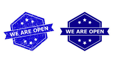 Hexagon WE ARE OPEN stamp seal on a white background, with undamaged variant. Flat vector blue textured seal stamp with WE ARE OPEN caption inside hexagon shape, ribbon is used.
