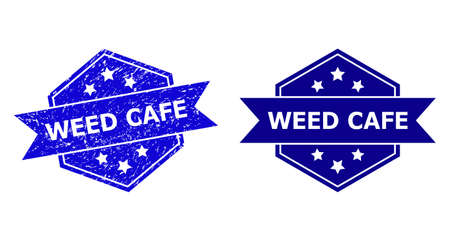 Hexagon WEED CAFE seal stamp on a white background, with clean version. Flat vector blue grunge stamp with WEED CAFE caption inside hexagon form, ribbon used also. 矢量图像