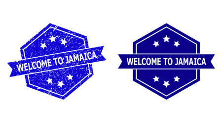 Hexagonal WELCOME TO JAMAICA seal stamp on a white background, with undamaged variant. Flat vector blue textured seal stamp with WELCOME TO JAMAICA phrase inside hexagoanl form, ribbon used.