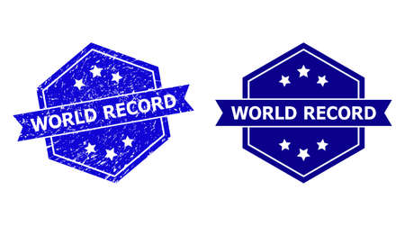 Hexagon WORLD RECORD stamp on a white background, with source version. Flat vector blue distress seal stamp with WORLD RECORD text inside hexagon form, ribbon is used also.