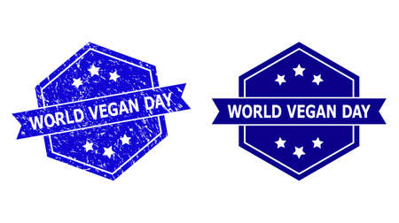 Hexagon WORLD VEGAN DAY seal stamp on a white background, with undamaged variant. Flat vector blue textured seal with WORLD VEGAN DAY title inside hexagon form, ribbon is used.