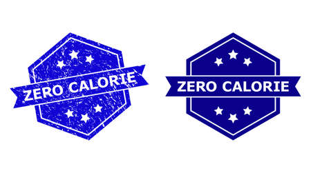 Hexagon ZERO CALORIE stamp seal on a white background, with clean variant. Flat vector blue scratched watermark with ZERO CALORIE caption inside hexagon shape, ribbon used also. 矢量图像