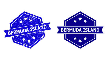 Hexagon BERMUDA ISLAND watermark on a white background, with original variant. Flat vector blue scratched watermark with BERMUDA ISLAND message inside hexagon form, ribbon is used also.
