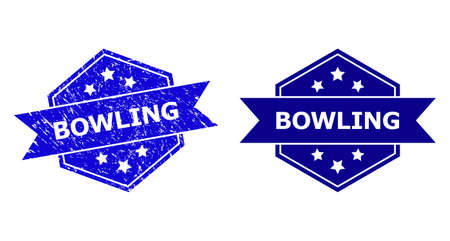 Hexagon BOWLING stamp seal on a white background, with original variant. Flat vector blue grunge seal with BOWLING message inside hexagon shape, ribbon is used. Imprint with distress texture.