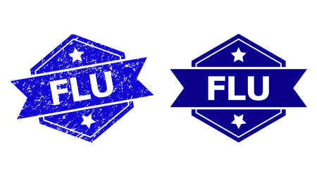 Hexagon FLU stamp seal on a white background, with source version. Flat vector blue textured stamp with FLU phrase inside hexagon shape, ribbon used also. Rubber imitation with unclean texture.