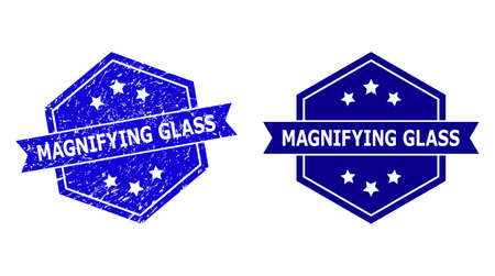Hexagon MAGNIFYING GLASS seal on a white background, with source variant. Flat vector blue distress seal with MAGNIFYING GLASS phrase inside hexagon form, ribbon used.