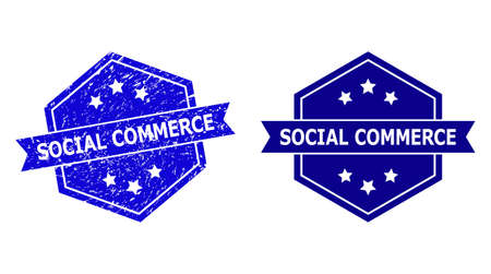 Hexagonal SOCIAL COMMERCE seal stamp on a white background, with undamaged version. Flat vector blue scratched seal stamp with SOCIAL COMMERCE caption inside hexagon form, ribbon used.