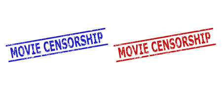 Blue and red MOVIE CENSORSHIP watermarks on a white background. Flat vector scratched watermarks with MOVIE CENSORSHIP title between two parallel lines. Watermarks with scratched texture.