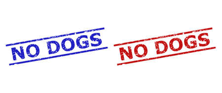 Blue and red NO DOGS seal stamps on a white background. Flat vector distress seal stamps with NO DOGS caption inside parallel lines. Watermarks with unclean surface. Ilustración de vector