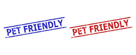 Blue and red PET FRIENDLY seal stamps on a white background. Flat vector distress seal stamps with PET FRIENDLY phrase between two parallel lines. Rubber imitations with scratched texture.