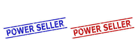 Blue and red POWER SELLER seals on a white background. Flat vector distress seals with POWER SELLER title inside 2 parallel lines. Watermarks with distress style.