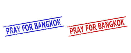 Blue and red PRAY FOR BANGKOK seal stamps on a white background. Flat vector scratched seal stamps with PRAY FOR BANGKOK title between 2 parallel lines. Imprints with scratched texture.
