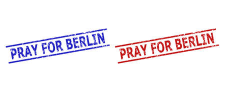 Blue and red PRAY FOR BERLIN stamp seals on a white background. Flat vector scratched watermarks with PRAY FOR BERLIN phrase inside parallel lines. Watermarks with scratched style.