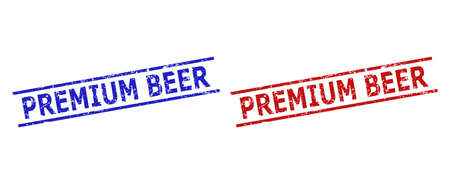 Blue and red PREMIUM BEER seal stamps on a white background. Flat vector distress seal stamps with PREMIUM BEER text between parallel lines. Watermarks with corroded surface.