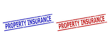 Blue and red PROPERTY INSURANCE watermarks on a white background. Flat vector textured watermarks with PROPERTY INSURANCE message inside 2 parallel lines. Watermarks with distress texture.
