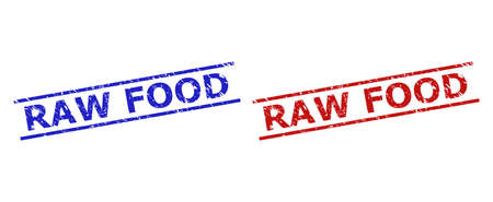 Blue and red RAW FOOD watermarks on a white background. Flat vector grunge watermarks with RAW FOOD caption between 2 parallel lines. Watermarks with distress style.