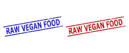 Blue and red RAW VEGAN FOOD watermarks on a white background. Flat vector scratched watermarks with RAW VEGAN FOOD title between parallel lines. Imprints with scratched style.