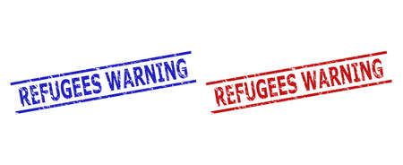 Blue and red REFUGEES WARNING seal stamps on a white background. Flat vector scratched seal stamps with REFUGEES WARNING caption inside two parallel lines. Imprints with scratched style.