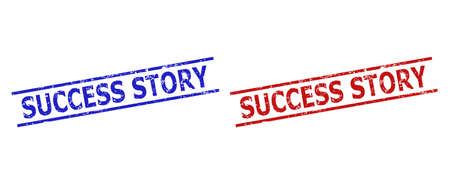 Blue and red SUCCESS STORY seals on a white background. Flat vector textured seals with SUCCESS STORY caption inside parallel lines. Watermarks with corroded texture.  イラスト・ベクター素材