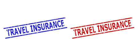 Blue and red TRAVEL INSURANCE stamp seals on a white background. Flat vector distress seals with TRAVEL INSURANCE caption inside two parallel lines. Rubber imitations with unclean surface.  イラスト・ベクター素材