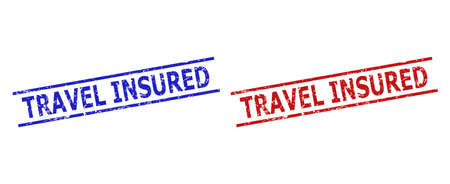 Blue and red TRAVEL INSURED watermarks on a white background. Flat vector grunge watermarks with TRAVEL INSURED phrase inside parallel lines. Watermarks with corroded surface.