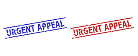 Blue and red URGENT APPEAL seals on a white background. Flat vector textured seals with URGENT APPEAL text inside two parallel lines. Watermarks with distress surface.