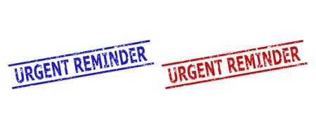 Blue and red URGENT REMINDER seals on a white background. Flat vector textured seals with URGENT REMINDER text inside two parallel lines. Rubber imitations with unclean texture.