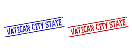 Blue and red VATICAN CITY STATE stamp seals on a white background. Flat vector grunge watermarks with VATICAN CITY STATE message between parallel lines. Watermarks with unclean texture.