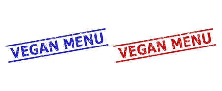 Blue and red VEGAN MENU stamps on a white background. Flat vector grunge watermarks with VEGAN MENU text between parallel lines. Watermarks with grunge style.