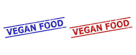 Blue and red VEGAN FOOD stamp seals on a white background. Flat vector distress seals with VEGAN FOOD phrase inside 2 parallel lines. Imprints with scratched surface.